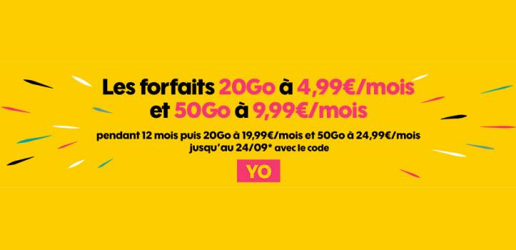 Sosh brade ses forfaits 20 Go à 4.99€/mois ou 50 Go à 9.99€/mois pendant 1 an