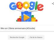 #Google fête son 20ème anniversaire [#Doodle]