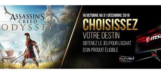 MSI et Ubisoft s'associent pour offrir le jeu Assassin's Creed Odyssey