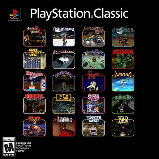 Sony publie la liste des 20 jeux de la Playstation Classic