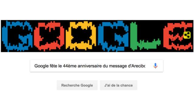 Google fête le 44ème anniversaire du message d'Arecibo [#Doodle]