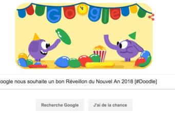 Google nous souhaite un bon Réveillon du Nouvel An 2018 [#Doodle]