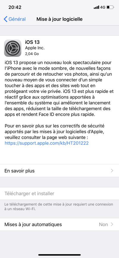 L'iOS 13 est disponible au téléchargement [liens directs]